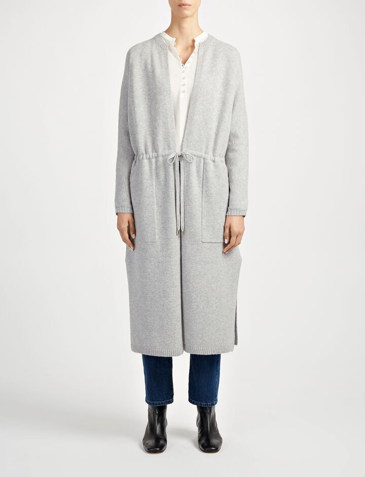 Farrah Knit Long Cardigan, in CONCRETE, large | on Joseph