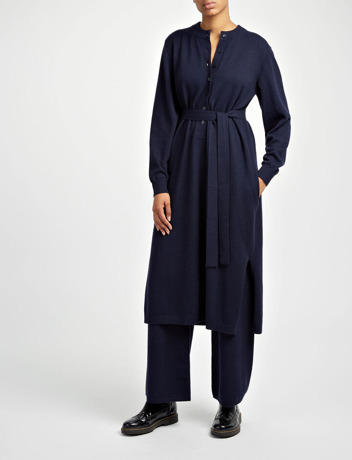 Mongolian Cashmere Eliza Dress, in NAVY, large | on Joseph