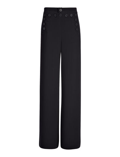 Viscose Cady Portland Trouser, in BLACK, large | on Joseph