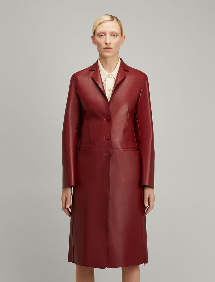 Bonded Leather Anda Coat, in RUBY, large | on Joseph