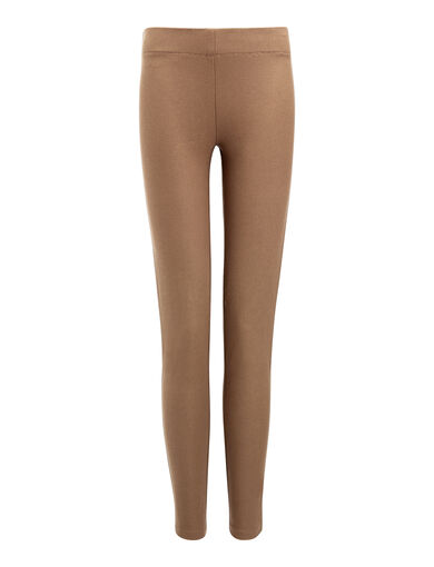 Gabardine Stretch Leggings, in DARK FAWN, large | on Joseph
