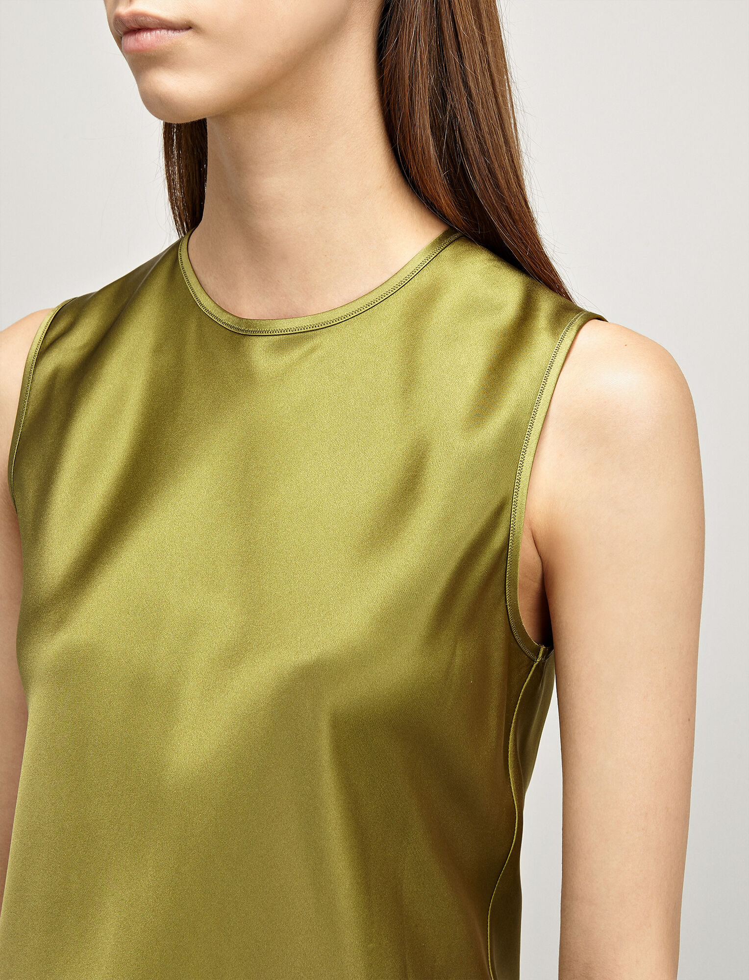 Joseph, Silk-Satin Lyle Blouse, in PEA