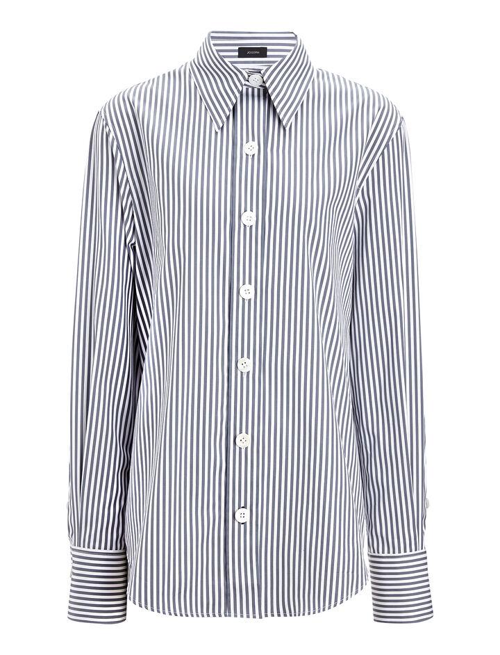 Joseph, Cotton Candy Stripe New Garcon Shirt, in INK