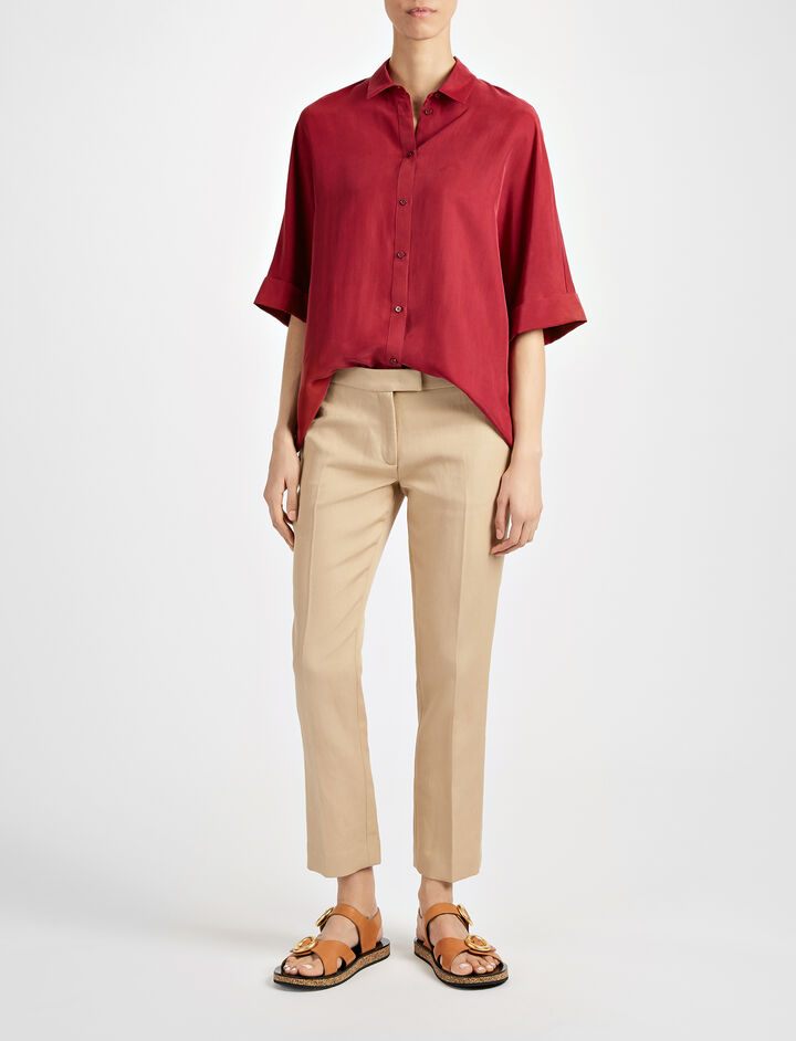 Ramie Cotton Finley Trouser, in CAMEL, large | on Joseph