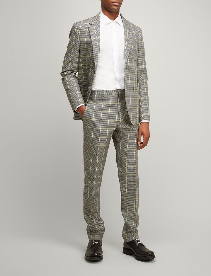 Prince of Wales Check Arthur Trousers, in GREY/BLACK, large | on Joseph