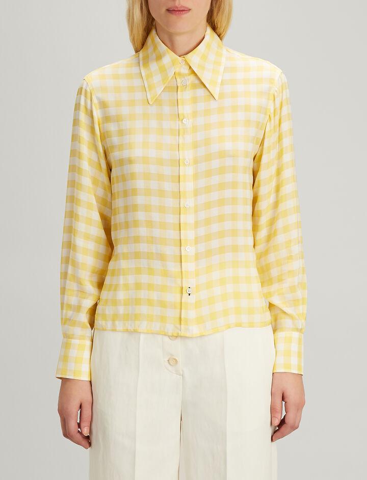 Gingham Jacquard Charlie Shirt, in DANDELION, large | on Joseph