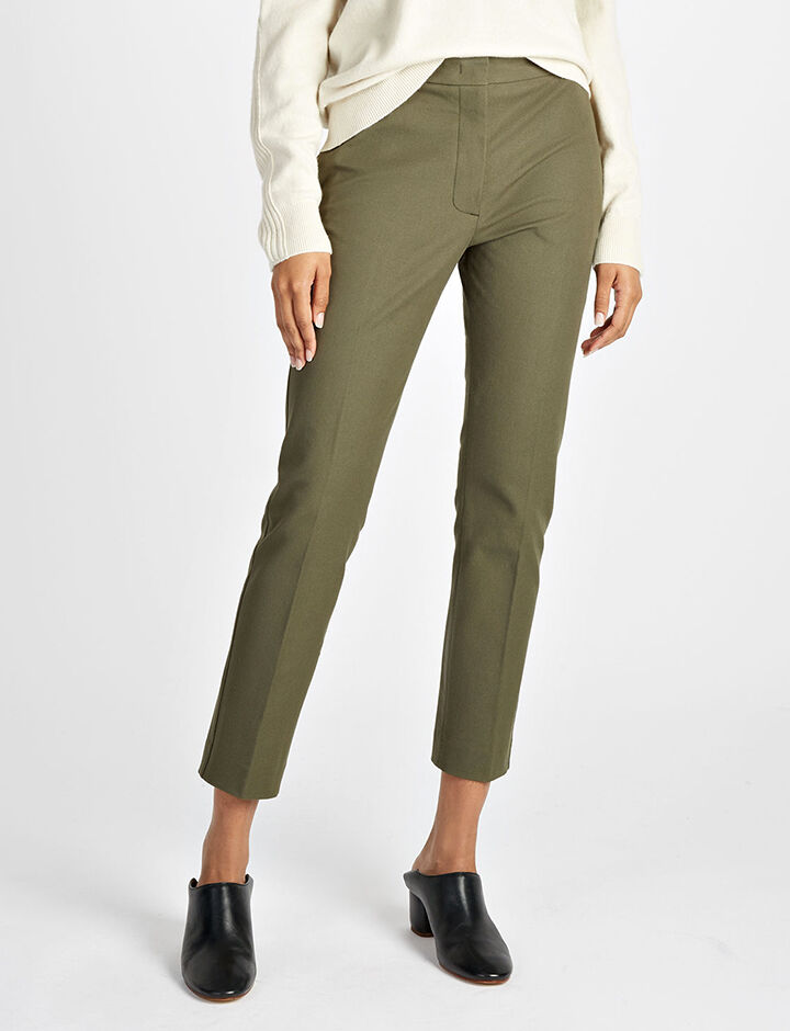 Pantalon Zoom en gabardine stretch, in ARMY, large | on Joseph