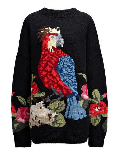 Flower Handknit Parrot Sweater, in MULTICOLOR, large   on Joseph
