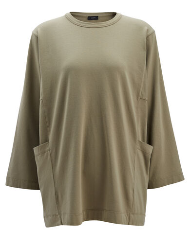 Garment Dyed Oversized Jersey, in FATIGUE, large | on Joseph