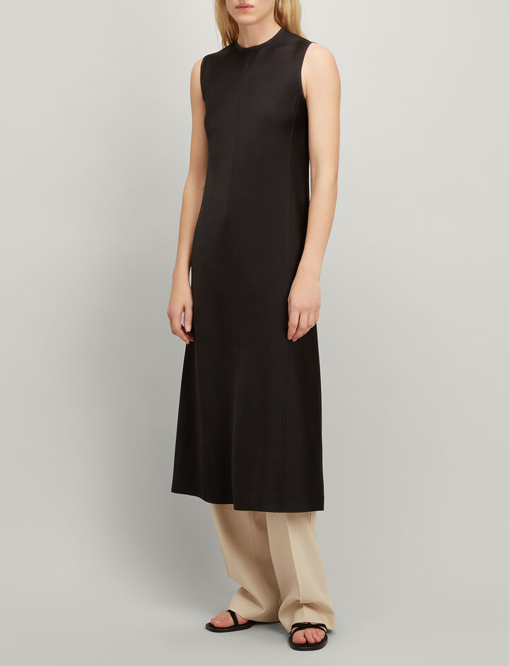Double Satin Sutton Dress, in BLACK, large | on Joseph