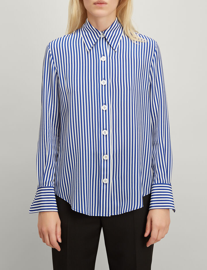 Deck Chair Stripe Silk New Garcon Shirt, in COBALT BLUE, large | on Joseph