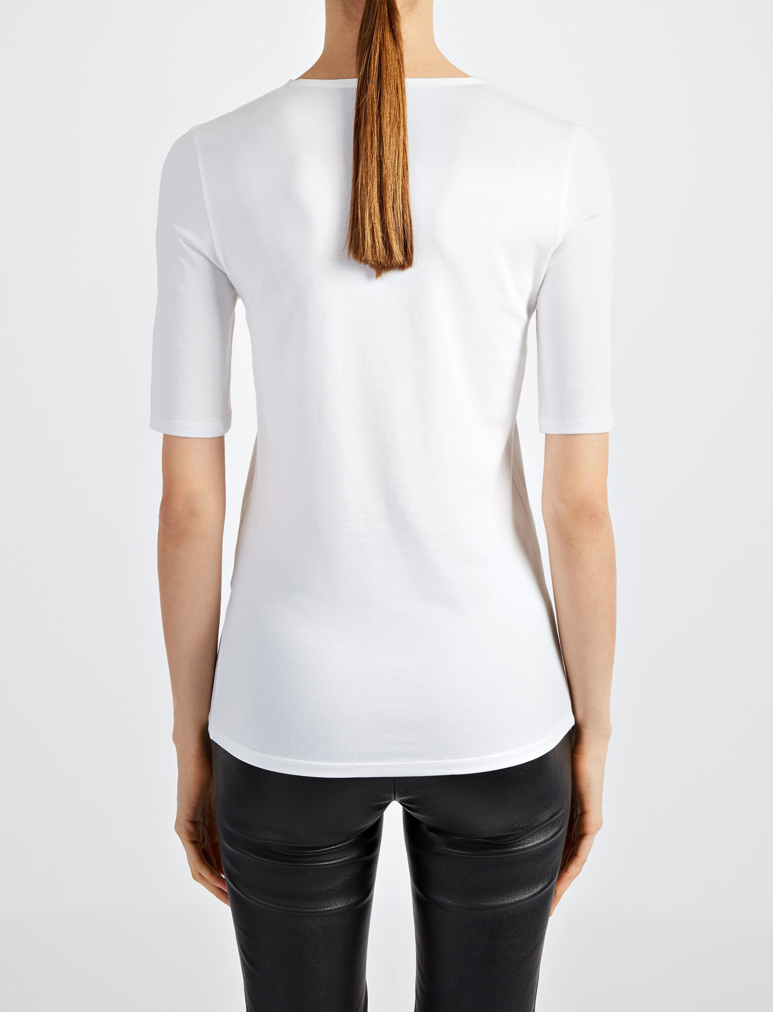Cotton Lyocell Stretch Top, in OFF WHITE, large | on Joseph