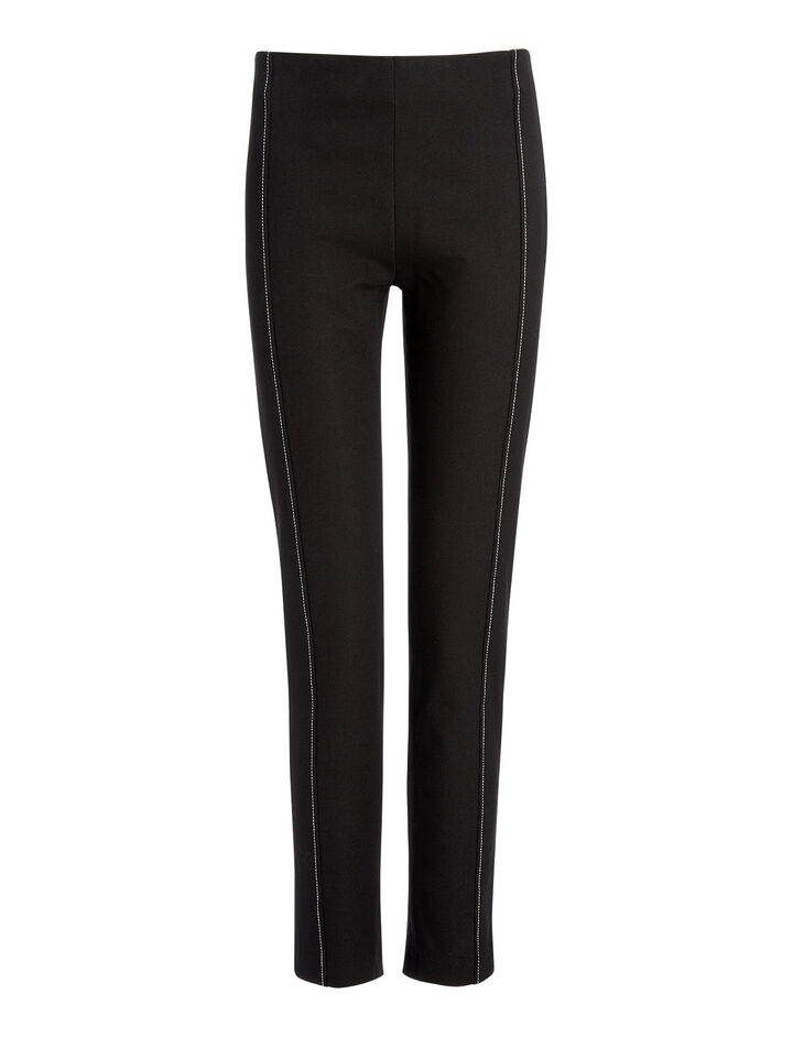 Gabardine Stretch Lenny Trousers, in BLACK, large | on Joseph