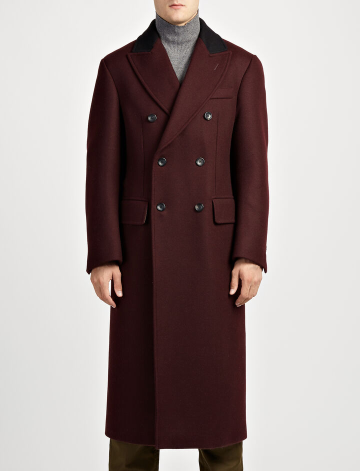 Bonded Cover Twill Glastonbury Coat, in BURGUNDY, large | on Joseph
