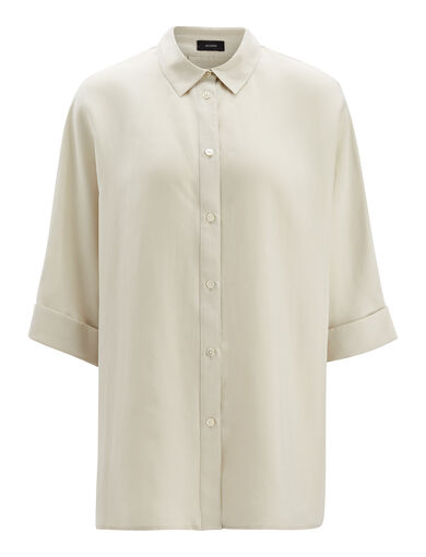 Parachute Silk Bryce Blouse, in COCONUT, large | on Joseph
