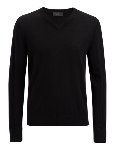 Merinos V Neck + Rib Patch Knit, in BLACK, large | on Joseph