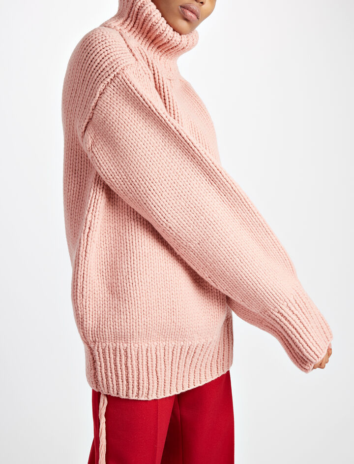 Chunky Wool High Neck Tunic, in BUBBLE GUM, large | on Joseph