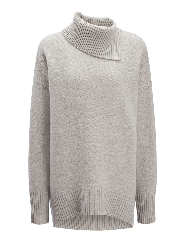 Soft Wool High Neck Sweater, in CONCRETE, large | on Joseph