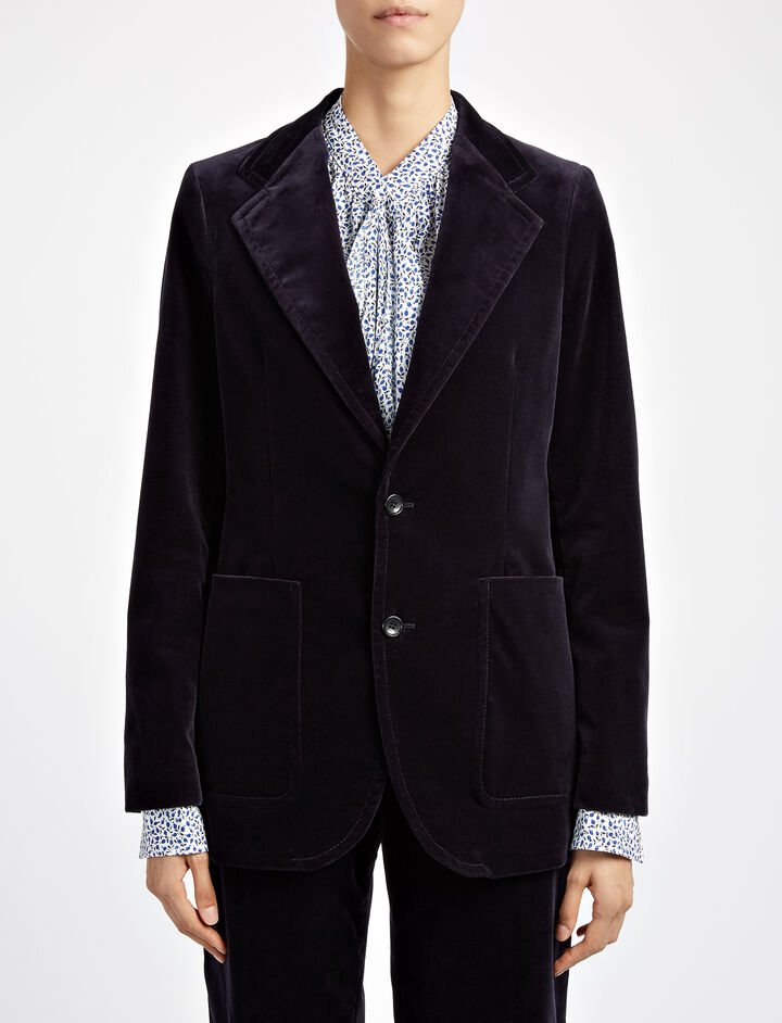Velvet Stretch Albert Jacket, in NAVY, large | on Joseph