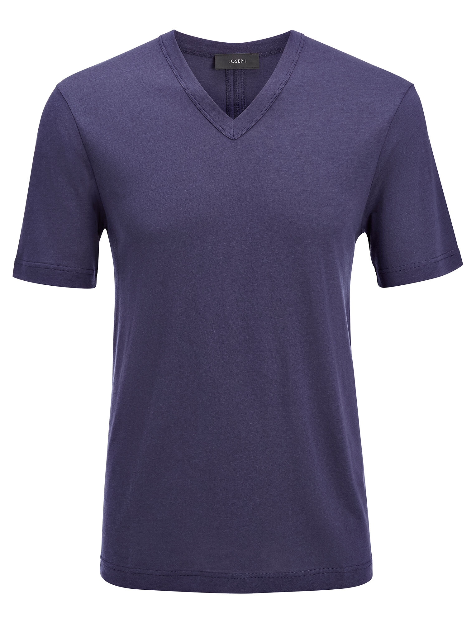 Joseph, Tee shirt col V en jersey de lyocell, in MARINE