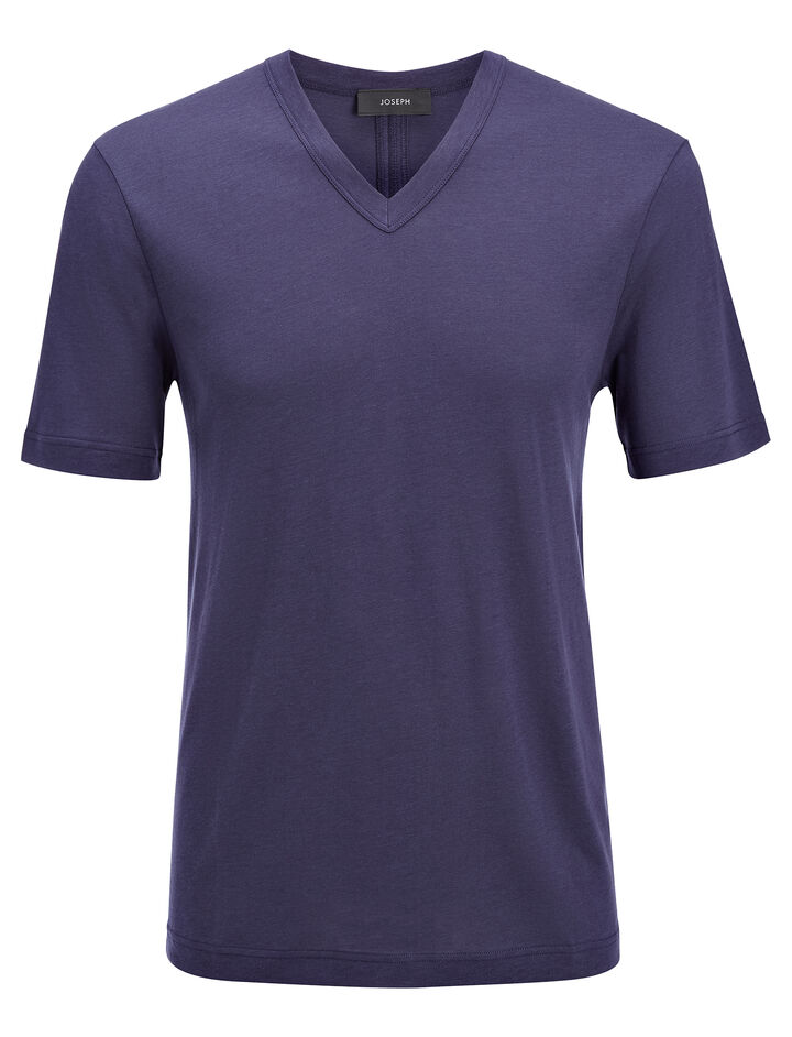 Lyocell Jersey V Neck Tee, in MARINE, large | on Joseph