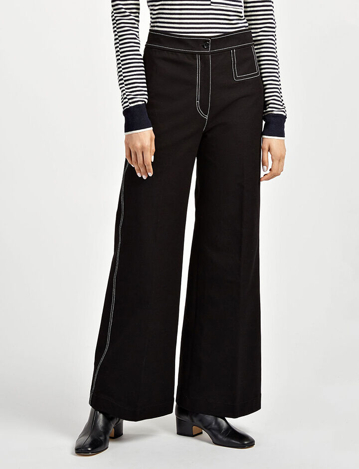 Gabardine Stretch Doni Trousers, in BLACK, large | on Joseph