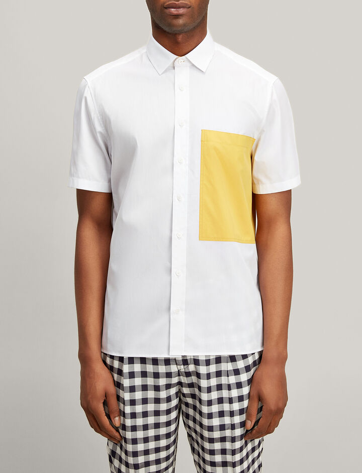 Joseph, Bi Colour Poplin Deal Shirt, in WHITE