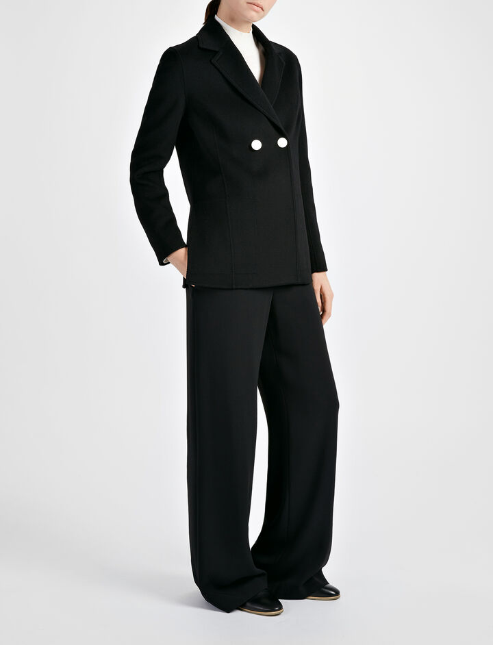 Light Double Cashmere Brest Jacket, in BLACK, large | on Joseph