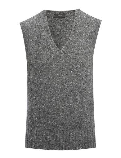 Shetland Knit V Neck Sleeveless Sweater, in CHARCOAL, large | on Joseph