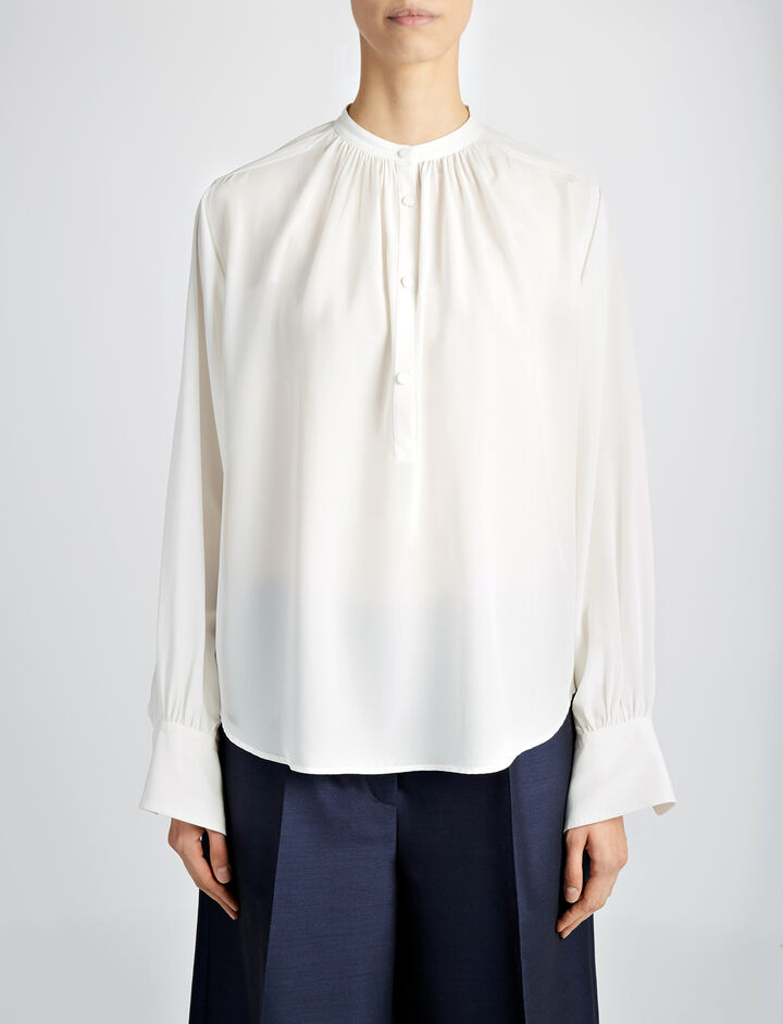 Crepe de Chine Vita Top, in OFF WHITE, large | on Joseph