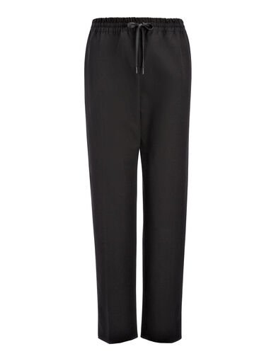 Gabardine Stretch Louna Trouser, in BLACK, large | on Joseph