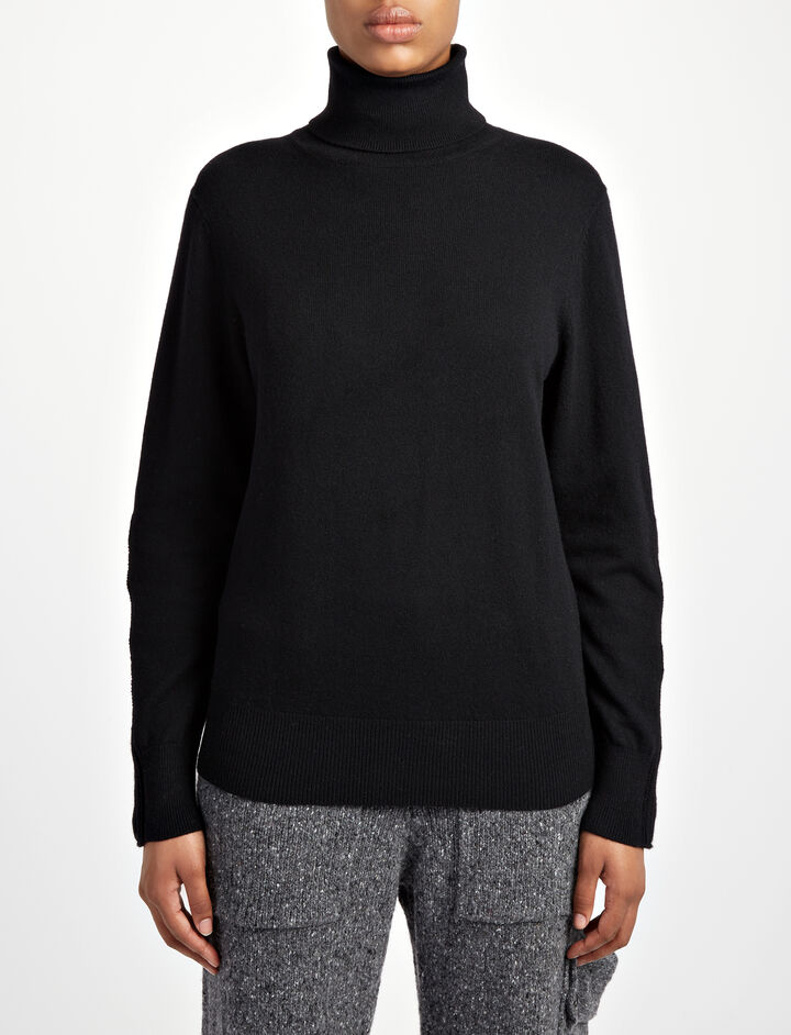 Joseph, Mongolian Cashmere Roll Neck Sweater, in BLACK