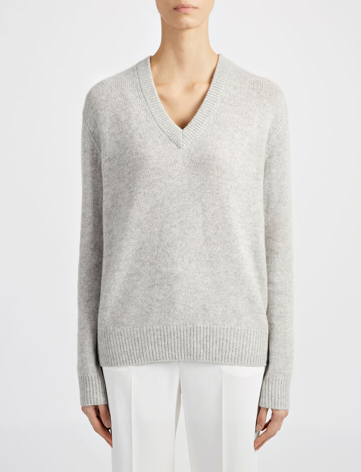 Open Cashmere V Neck Top, in GREY CHINE, large | on Joseph