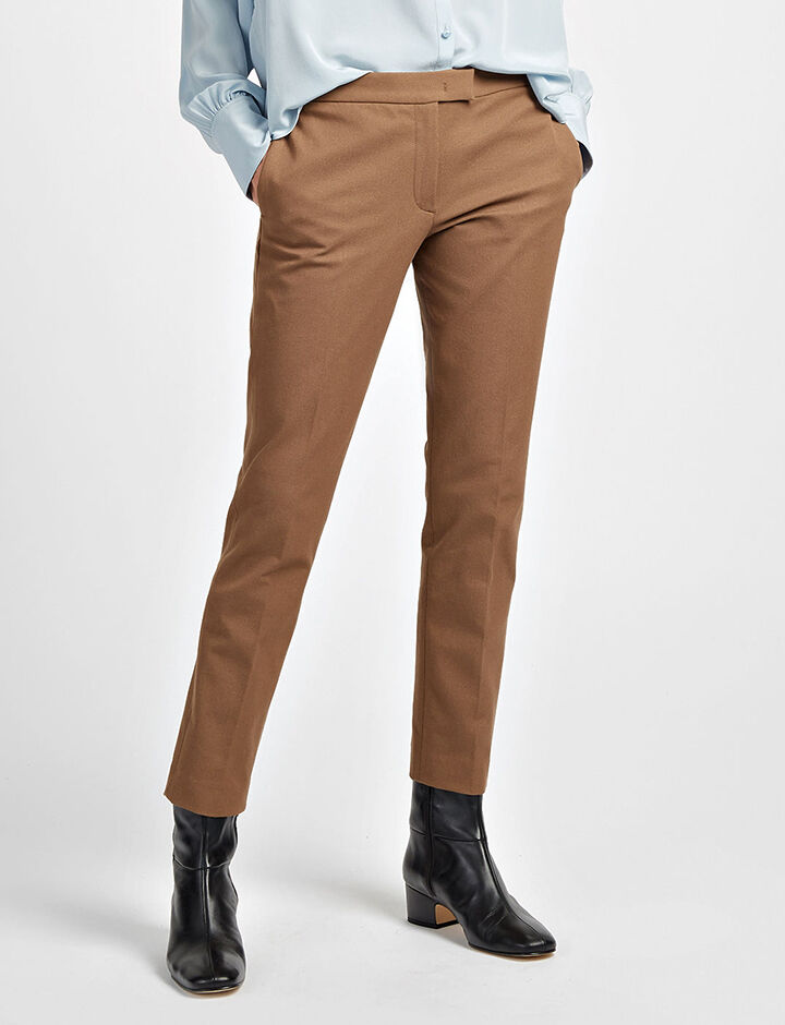 Gabardine Stretch Finley Trousers, in DARK FAWN, large | on Joseph