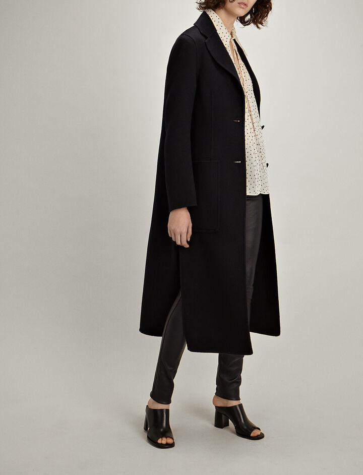 Double Wool-Silk Marvil Coat, in NAVY, large | on Joseph
