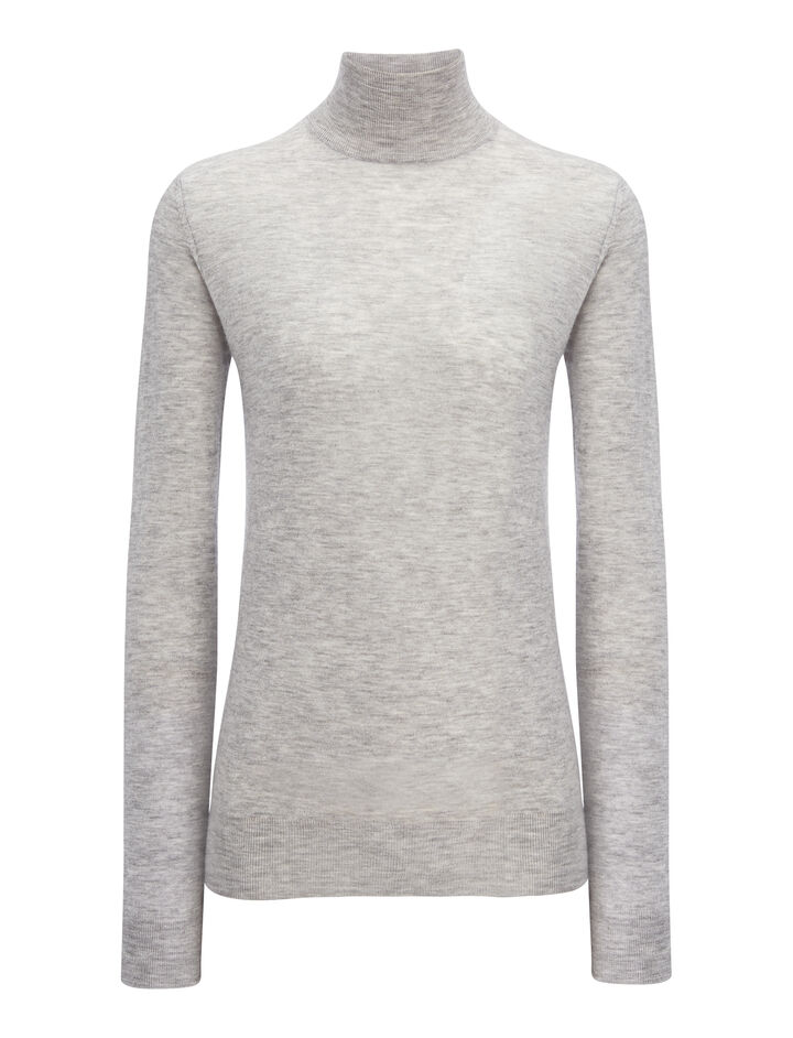 Cashair High Neck Sweater, in CONCRETE, large | on Joseph
