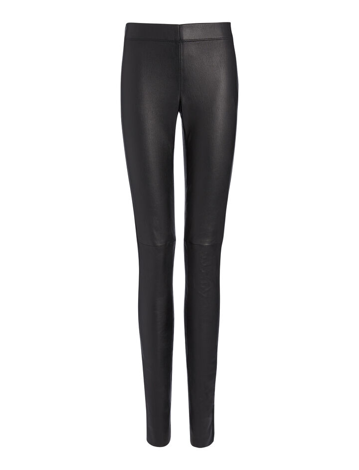 Leather Stretch Leggings, in BLACK, large | on Joseph