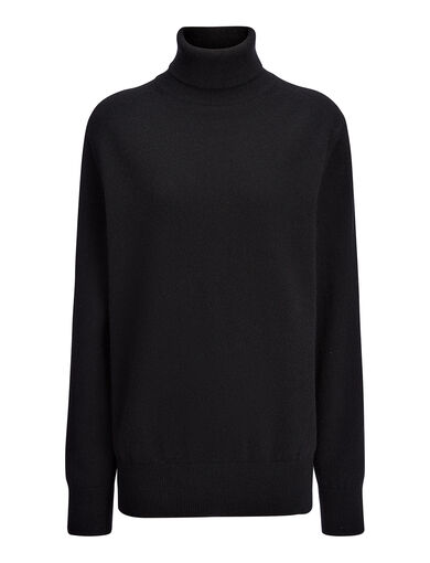 Cashmere 12gg Roll Neck Sweater, in BLACK, large | on Joseph