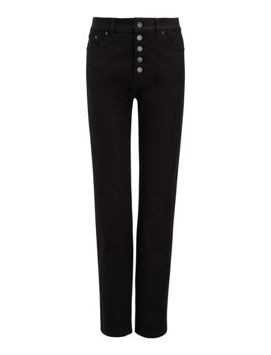Gabardine Stretch Den Trousers, in BLACK, large | on Joseph