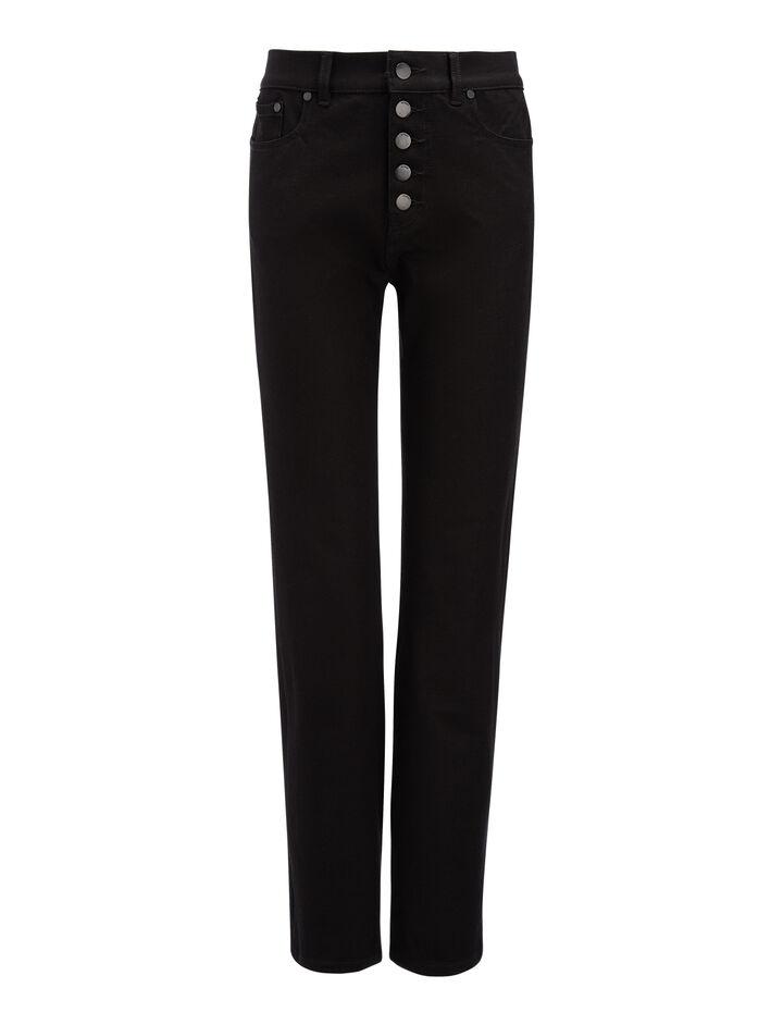 Pantalon Den en gabardine stretch, in BLACK, large | on Joseph