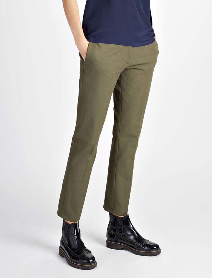 Gabardine Stretch Finley Trousers, in ARMY, large | on Joseph