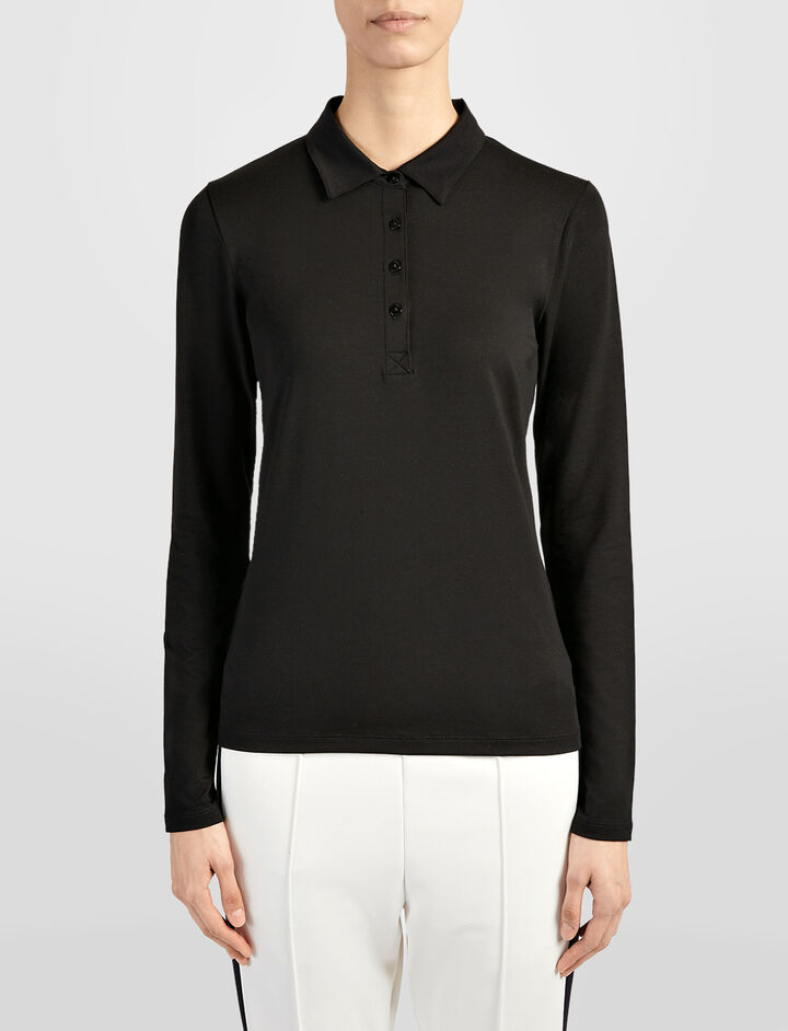 Cotton Lyocell Stretch Polo, in BLACK, large | on Joseph