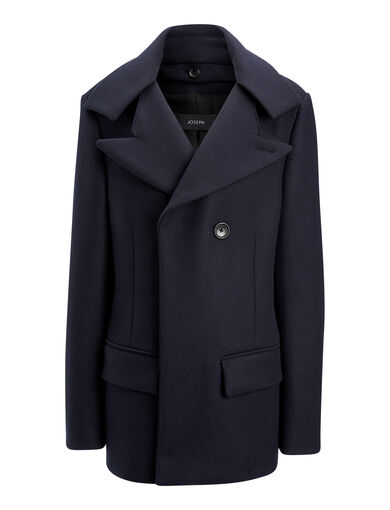 Ironed Twill Han Coat, in NAVY, large | on Joseph