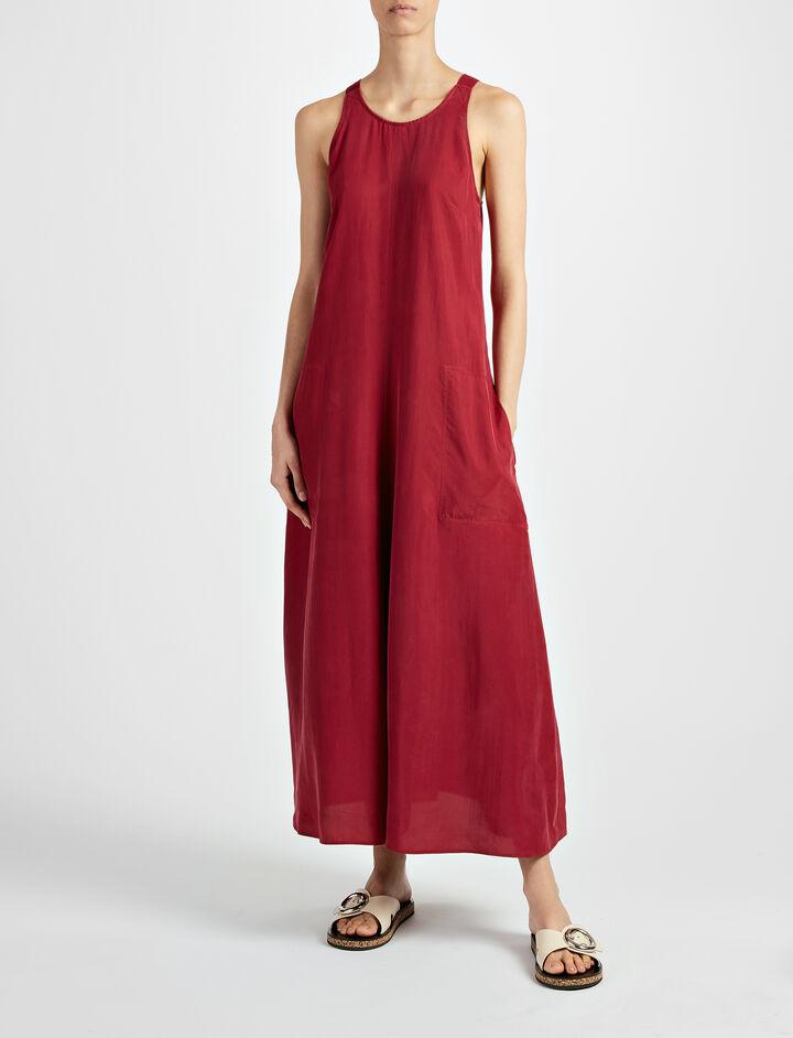 Parachute Silk Penn Dress, in CRANBERRY, large | on Joseph