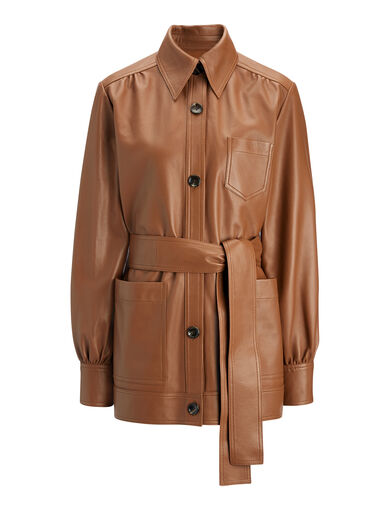 Veste Saul en cuir Nappa mat, in TOBACCO, large | on Joseph