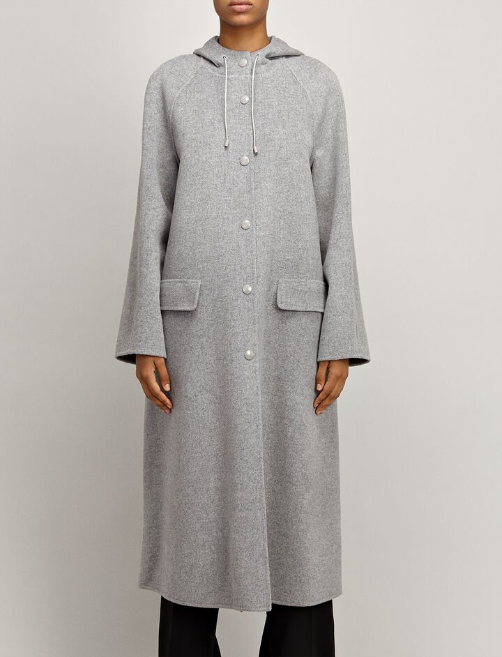 Double Wool Rowen Coat, in GREY CHINE, large | on Joseph