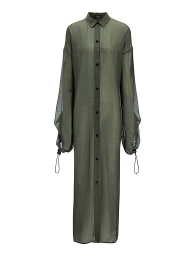 Cotton Voile Sina Dress, in MILITARY, large | on Joseph