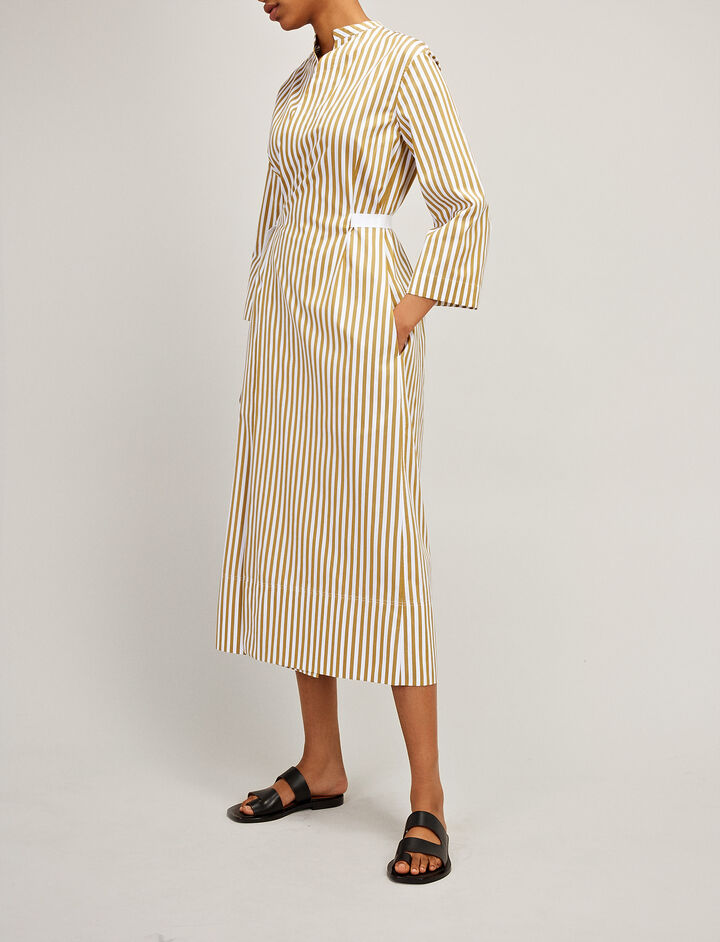 Candy Stripe Cotton Laury Dress, in TAWNY, large | on Joseph