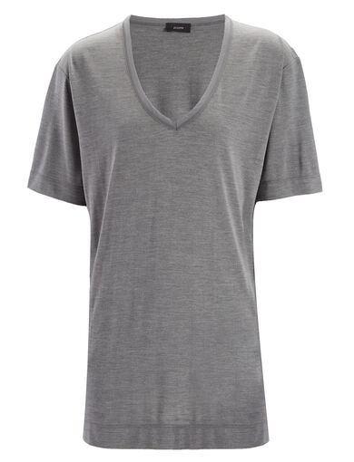 Silk Jersey V Neck Top, in CONCRETE, large | on Joseph