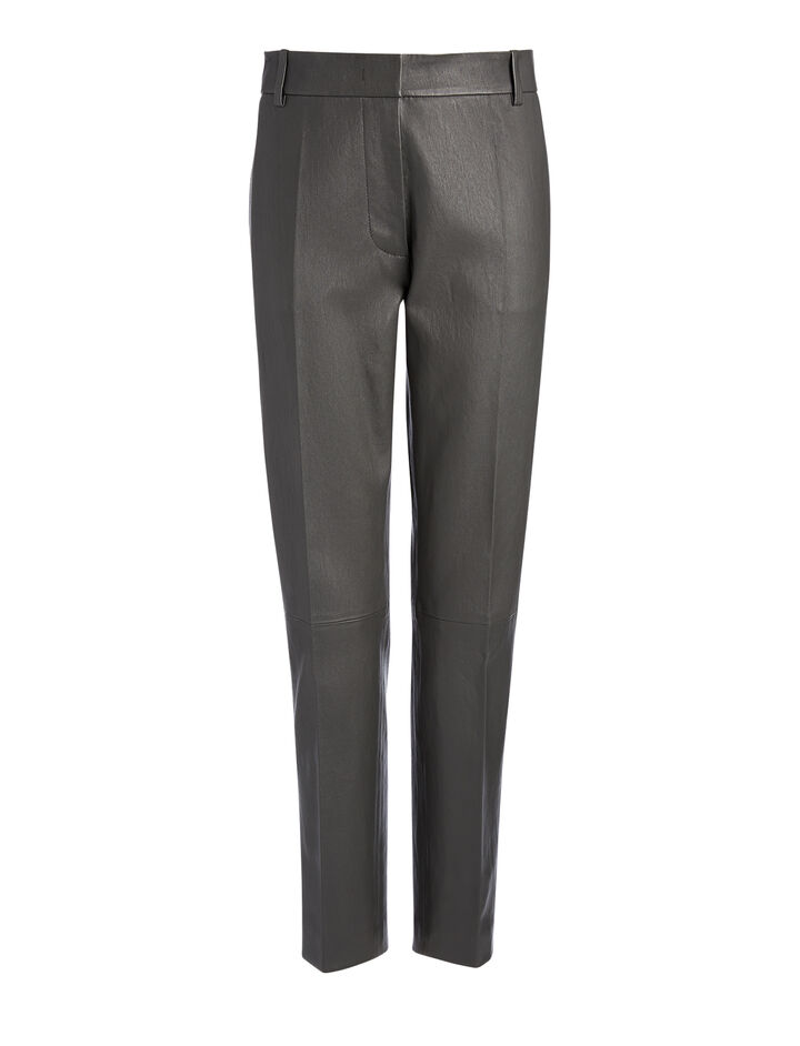 Leather Stretch Zoom Leather Trousers, in GRAPHITE, large | on Joseph
